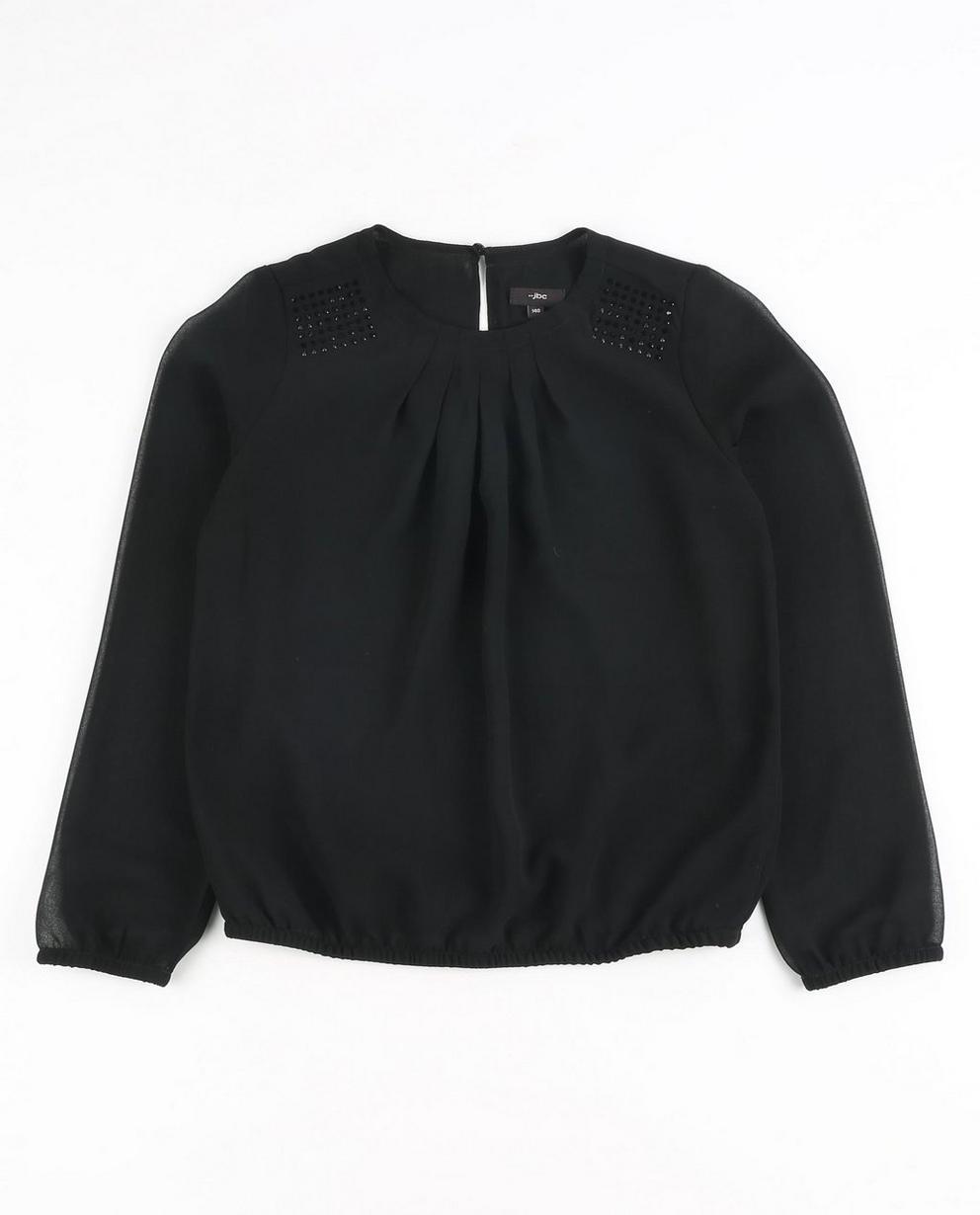 Schwarze Bluse mit Strass - semitransparent - JBC